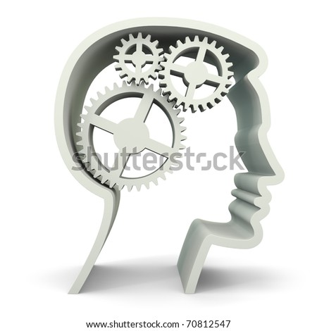 Symbolized male face with 3 gears - stock photo