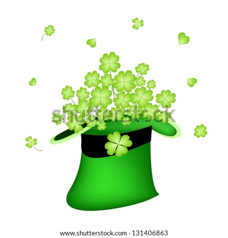 Symbols for Fortune and Luck, An Illustration of Fresh Green Four Leaf Clover Plants or Shamrock in Saint Patrick's Hat - stock photo