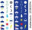 Symbols for the indication of weather. Raster illustration. Adapted for dark and light background. - stock photo