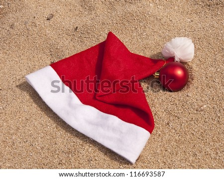 Symbols of Christmas for vacation paradise on the ocean in tropics - stock photo