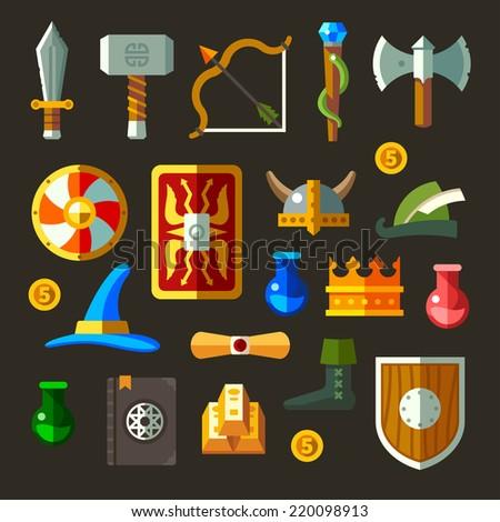 Symbols of game, flat illustration - stock photo