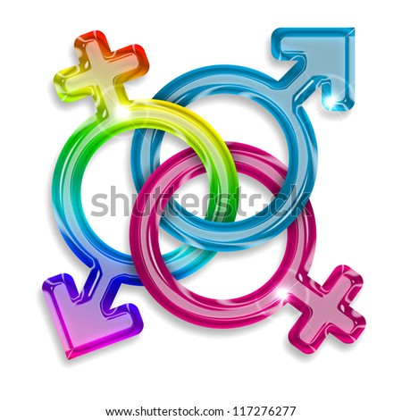 symbols of male, female and trans gender on white background - stock photo