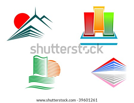 Symbols of modern  buildings - abstract emblem or logo template. Vector version also available in gallery - stock photo