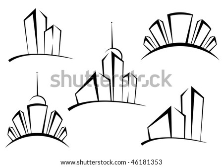 Symbols of modern buildings for design as a real estate concept - also as emblem or logo template. Vector version is also available - stock photo