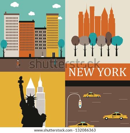 Symbols of New York. - stock photo