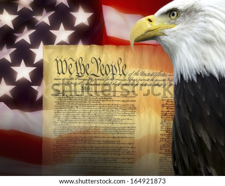 Symbols of The United States of America - United States Constitution - stock photo