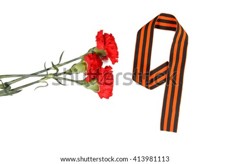 Symbols of Victory in Great Patriotic War three red flower and number 9 on a table. white background. isolated  - stock photo