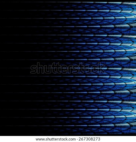 Symmetrical blue fractal flower, digital logarithm for creative graphic - stock photo