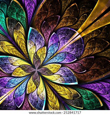 Symmetrical flower pattern in stained-glass window style. Blue, green and yellow palette. Computer generated graphics. - stock photo