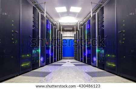 symmetrical futuristic modern server room in the data center with - stock photo