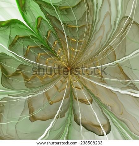 Symmetrical green fractal flower, digital artwork for creative graphic - stock photo