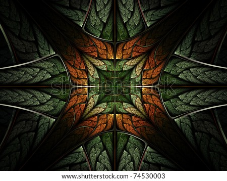 Symmetrical leafy forest pattern, fractal abstraction - stock photo