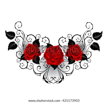symmetrical pattern with red roses and black spiky stalks and black leaves on a white background. Design with roses. Tattoo style. Gothic style.  Tribal graphics. Style sketch.  - stock photo