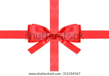 symmetrical red bow with square cut ends on intersection of two red satin ribbons isolated on white background - stock photo