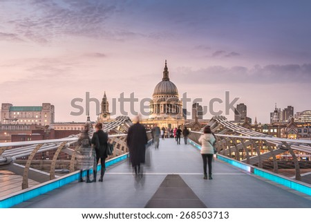 Symmetry on the Millennium Bridge to the St Paul's Cathedral - stock photo