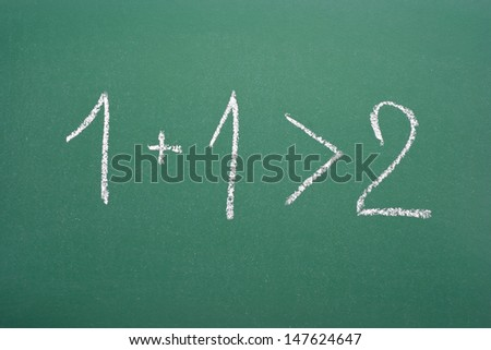 Synergistic calculation: 1+1>2 - stock photo