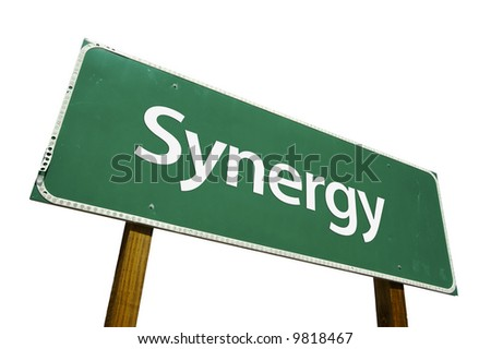 Synergy road sign isolated on a white background. - stock photo