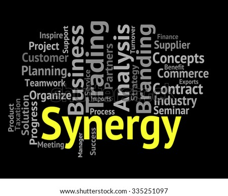 Synergy Word Showing Team Work And Wordcloud - stock photo