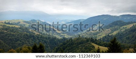 Synevyrska Pass, Carpathian Mountains panorama - stock photo