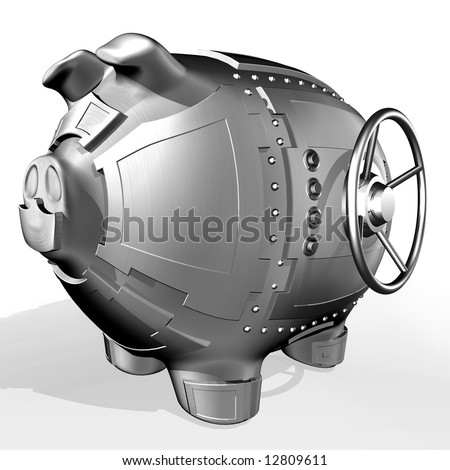 Synthesis from piggy bank and banking safe - stock photo