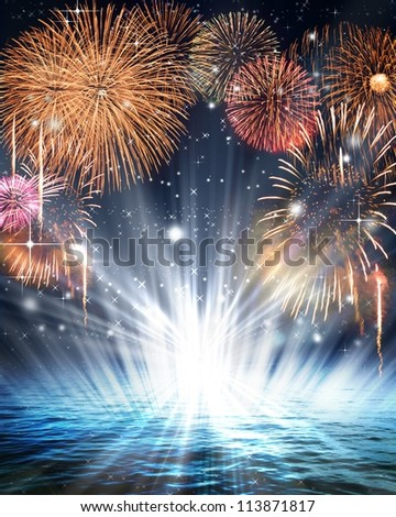 Synthetic background of fireworks - stock photo