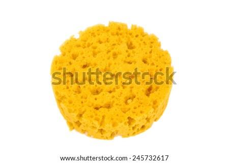 Synthetic bath sponge isolated on white closeup - stock photo