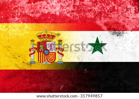 Syria and Spain Flag with a vintage, old look - stock photo