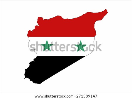 syria country flag map shape national symbol - stock photo