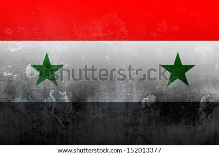 Syria flag dark textured illustration - stock photo