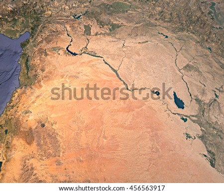 Syria, satellite view, map, 3d rendering, land, middle east. Element of this image are furnished by Nasa - stock photo