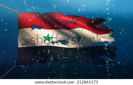 Syria Under Water Sea Flag National Torn Bubble 3D - stock photo