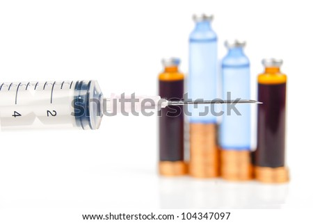 Syringe,coin and vial - stock photo