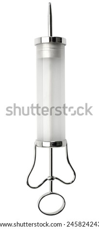 Syringe isolated on white. Clipping path - stock photo