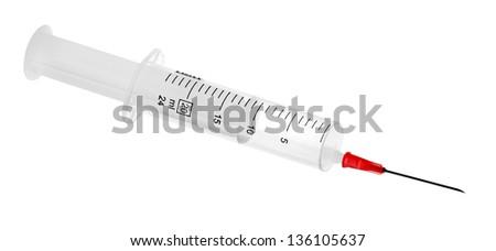 Syringe with needle isolated on white background - stock photo
