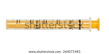 Syringe, yellow tube measured for dispensing of children's medicinal syrup, isolated on the white. - stock photo