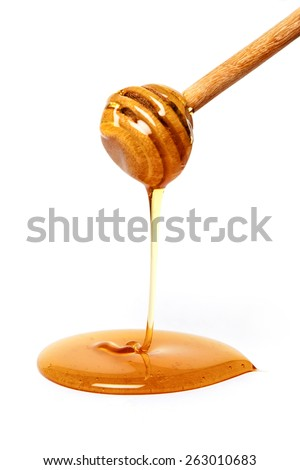 Syrup drip isolated on white background - stock photo
