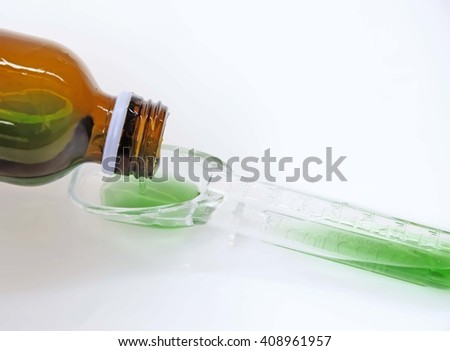 Syrup Medication Bottles and Medicine in Spoons  - stock photo