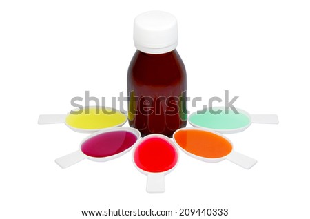 Syrup Medication Bottles and Medicine Spoons Isolated on White Background  - stock photo