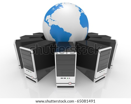 System computer  case on a white background - stock photo