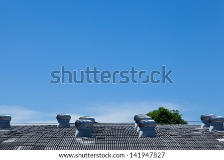 system cooling fan. Installed on the roof of the factory. - stock photo
