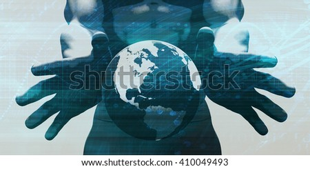 System Integration Network with Hands Holding Technology Globe 3D Illustration Render - stock photo