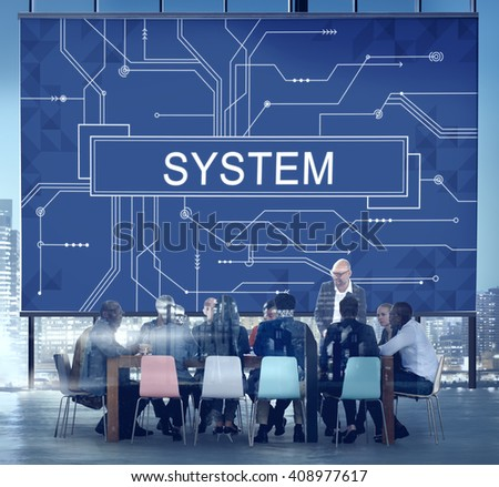 System Technology Online Futuristic Circuit Board Concept - stock photo