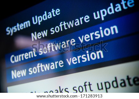 System update software available on a modern smart TV set. - stock photo