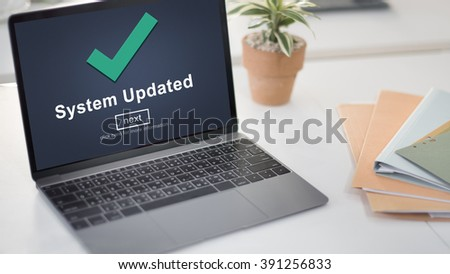 System Updated Computer Connection Data Concept - stock photo