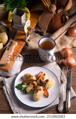szare kluski - Polish potato dumplings - stock photo