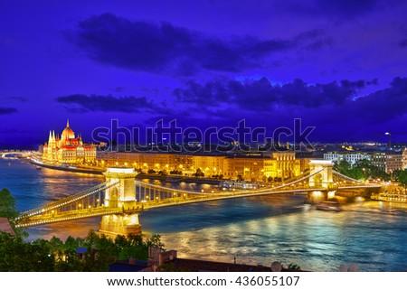Szechenyi Chain Bridge and Parliament . Budapest, Hungary. - stock photo