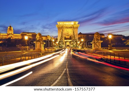 Szechenyi Chain Bridge, Budapest. Image of Chain Bridge in Budapest during sunset. - stock photo