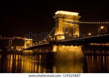 Szechenyi Chain Bridge in Budapest, Hungary - stock photo