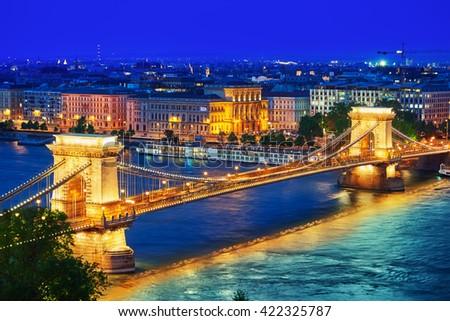 Szechenyi Chain Bridge view from Buda Hill at dusk. Budapest, Hungary. - stock photo