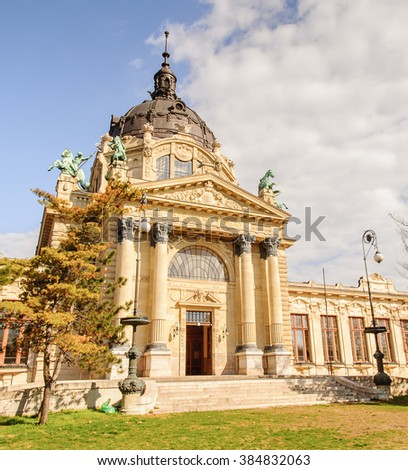 Szechenyi Medicinal Bath in Budapest,Hungary is the largest medicinal bath in Europe. The bath can be found in the City Park, and was built in 1913 in Neo-baroque style to the design of Gyozo Czigler. - stock photo